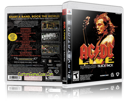 AC DC Live Rockband Track Pack - Sony PlayStation 3 PS3 - Empty Custom Replacement Case