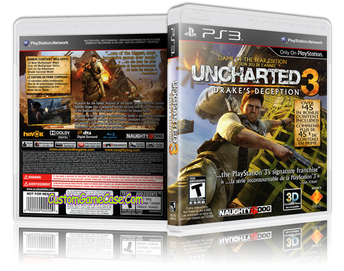 Uncharted 3 Drake's Deception - Sony PlayStation 3 PS3 - Empty Custom Replacement Case