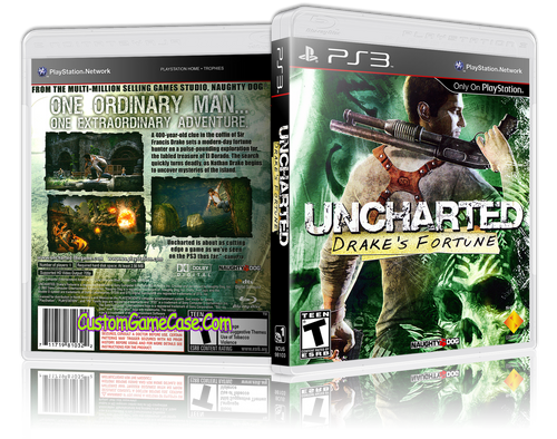 Uncharted Drake's Fortune - Sony PlayStation 3 PS3 - Empty Custom Replacement Case
