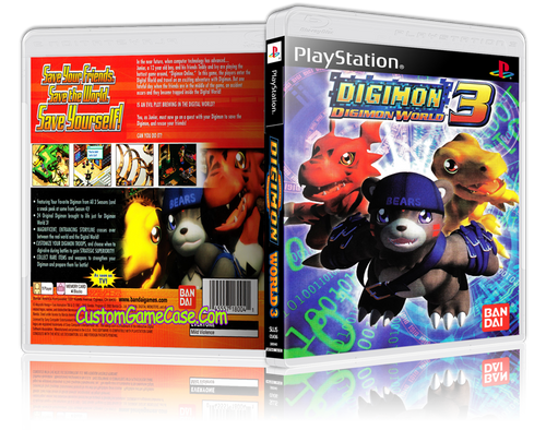 Digimon World 3 - Sony PlayStation 1 PSX PS1 - Empty Custom Case