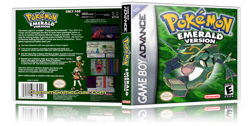 Pokemon Emerald Version - Gameboy Advance GBA - Empty Custom Replacement Case