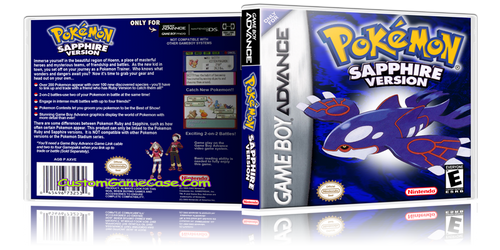 Pokemon Sapphire Version - Gameboy Advance GBA - Empty Custom Replacement Case