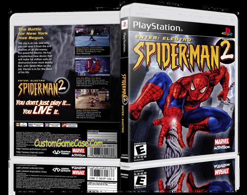 Spider-man 2 Enter Electro: - Sony PlayStation 1 PSX PS1 - Empty Custom Case