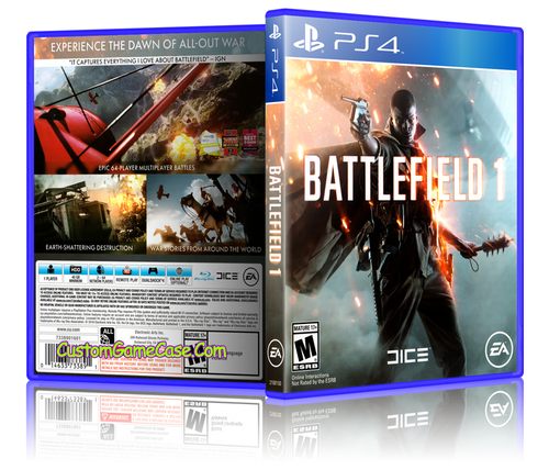 Battlefield 1 - Sony PlayStation 4 PS4 - Empty Custom Replacement Case