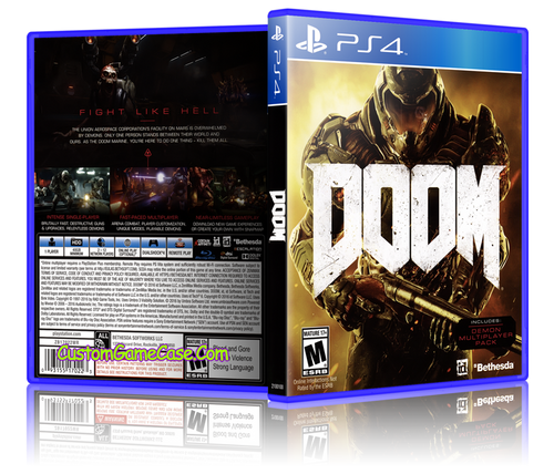 Doom - Sony PlayStation 4 PS4 - Empty Custom Replacement Case