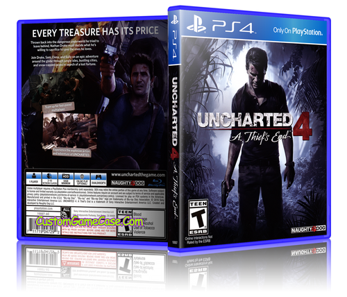 Uncharted 4 A Thief's End - Sony PlayStation 4 PS4 - Empty Custom Replacement Case