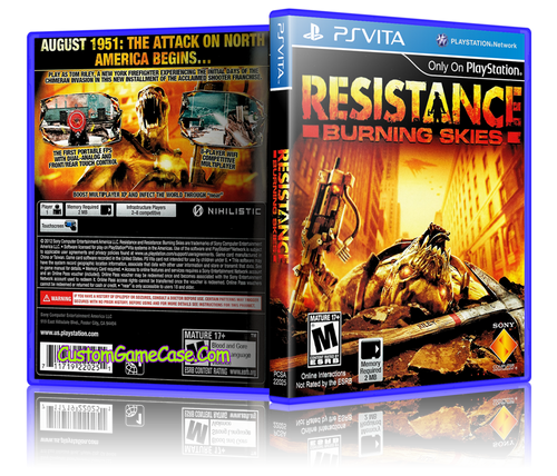 Resistance Burning Skies - Sony PlayStation PS Vita - Empty Custom Replacement Case