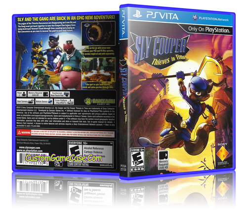 Sly Cooper Thieves in Time - Sony PlayStation PS Vita - Empty Custom Replacement Case