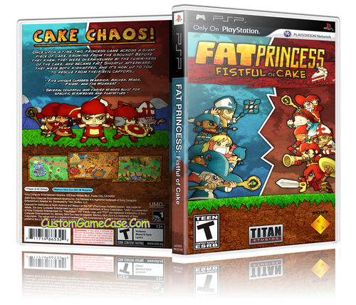 Fat Princess Fistful of Cake - Sony PlayStation Portable PSP - Empty Custom Replacement Case