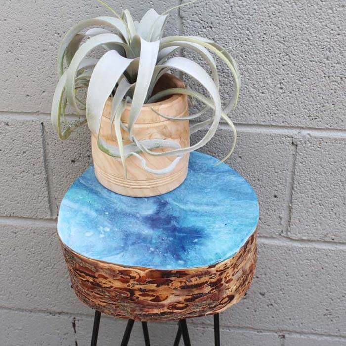 Resin Dirty Pour Log Slice Hairpin Leg Table DIY