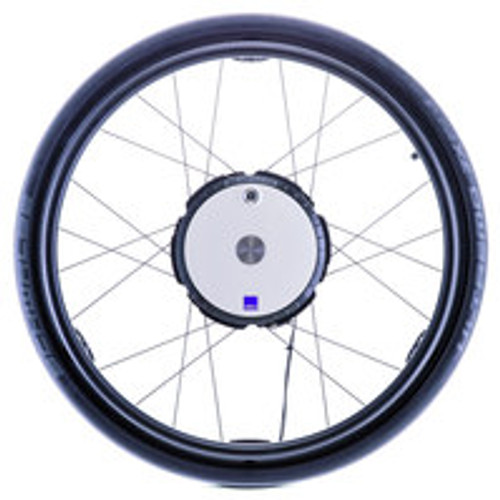 "DRIVE WHEEL 24 x 1,' wheels with Shwalbe Marathon Plus Evolution tyres (with unrivalled puncture protection) as standard • Quick-release axle, length: 123 mm. diameter: 1/2"" • Max weight of occupant 120 kg • Motor, electronics and battery pack integrated in the wheel hub • White cover • Black outer ring • Stainless steel button on q/r axle • Aluminium push-rim. powder-coated black/matt • Weight of standard model. 6.3 kg per wheel"