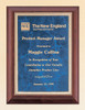Cherry Finish Recognition Award Plaque with sapphire marble plate, Laser engraved