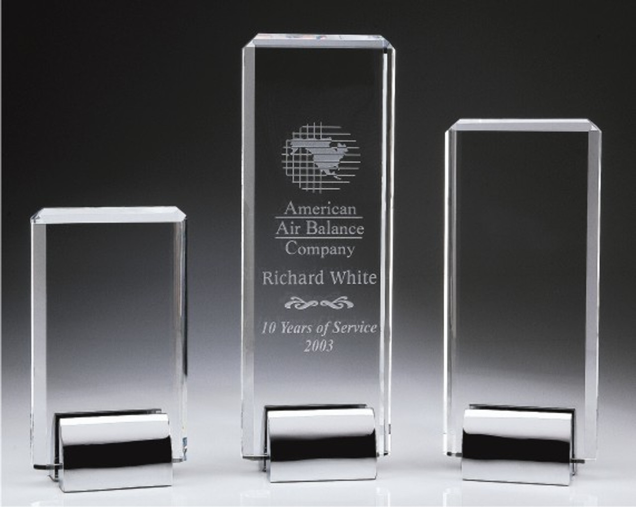 Crystal Tower Awards, 3 sizes available, glass etching process