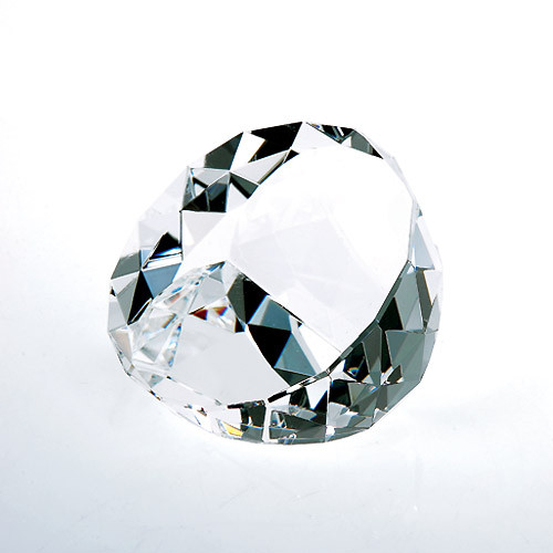 Optical Crystal Duet Round Paperweight
