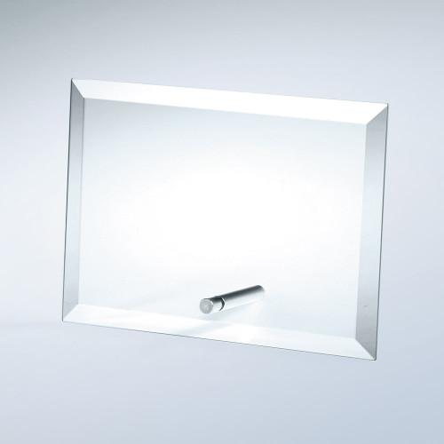 JADE GLASS BEVELED HORIZONTAL RECTANGLE W/ ALUMINUM POLE, 3 sizes available