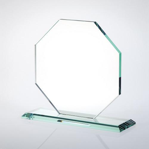 JADE GLASS OCTAGON AWARD W/ SLANT EDGE BASE. 3 sizes available.