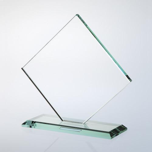 JADE GLASS SQUARE DIAMOND AWARD W/ SLANT EDGE BASE, 3 sizes available