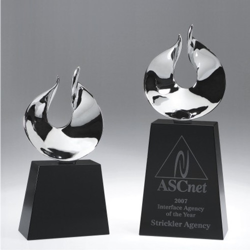 Oasis Crystal Award, engraved crystal base