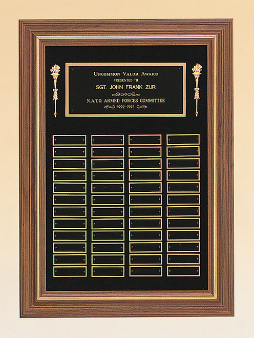 American Walnut Recognition Award Plaque with gold trim, Laser engraved