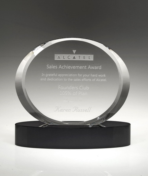 Free engraving on clear crystal area. Qty discounts available