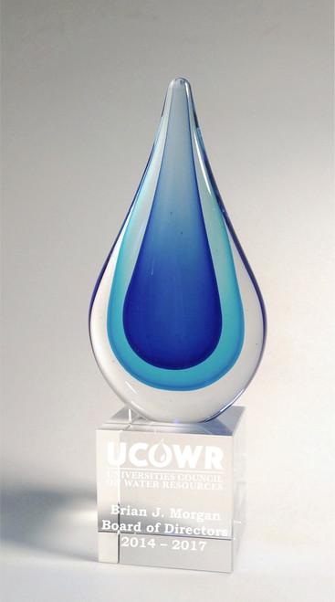 Multi-Blue Droplet Art Glass Award