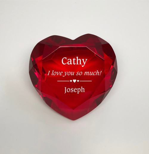 Red Crystal Heart Paperweight