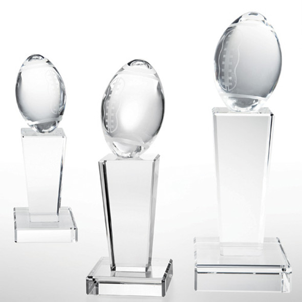 "Football on Pedestal Base 8 3/8"", 3 sizes available"