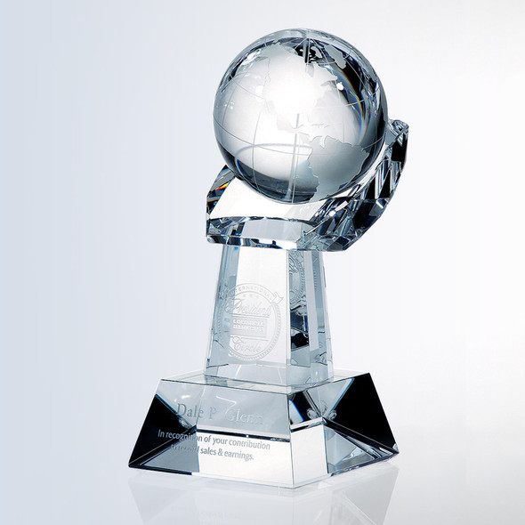 "5 3/8"" Crystal Globe in Hand"