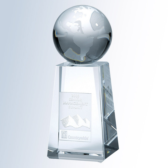 CRYSTAL WORLD GLOBE W/ TAPERED COLUMN BASE, Crystal Award, 3 sizes