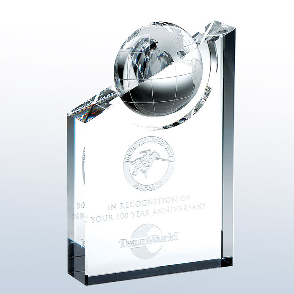 "WORLD GLOBE PINNACLE, Crystal Award, 6"", 3 sizes available"