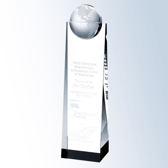 GLOBE TOWER, Crystal Award,  3 sizes available