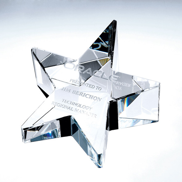 SLANT STAR CRYSTAL PAPERWEIGHT