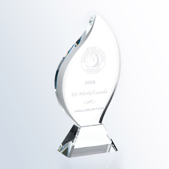 CRYSTAL FLAME AWARD W/CLEAR BASE, 3 sizes available