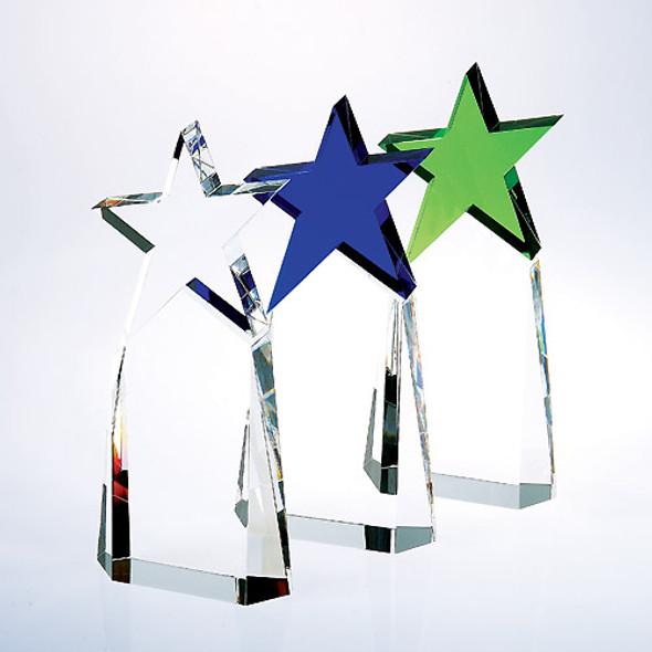 Triumphant Star Crystal Award, Clear, Blue or Green