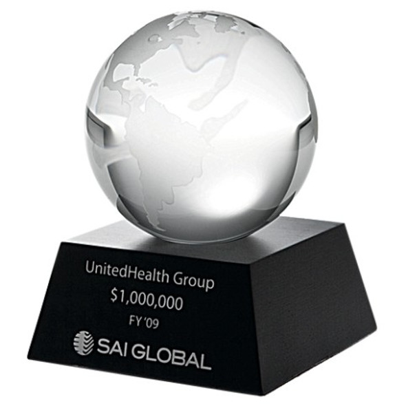 Crystal Globe w/ Black Aluminum Base