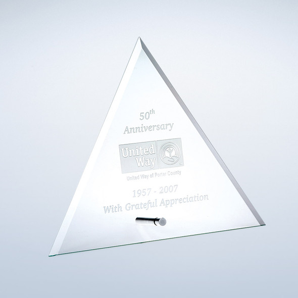 JADE GLASS BEVELED TRIANGLE W/ ALUMINUM POLE,  3 sizes available