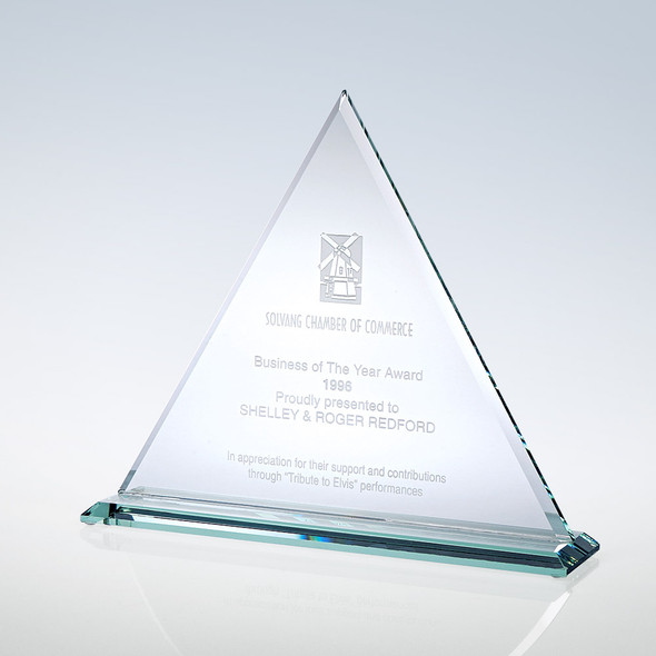 Jade Glass Triangle Glass Award, 3 sizes available