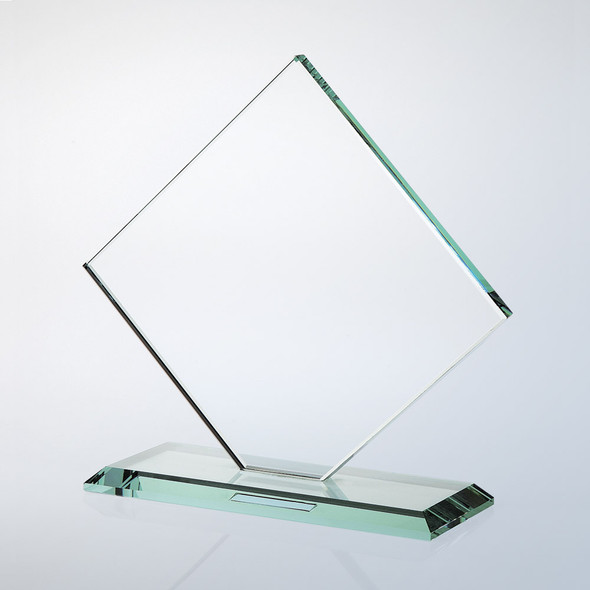 JADE GLASS SQUARE DIAMOND AWARD W/ SLANT EDGE BASE, 3 sizes available