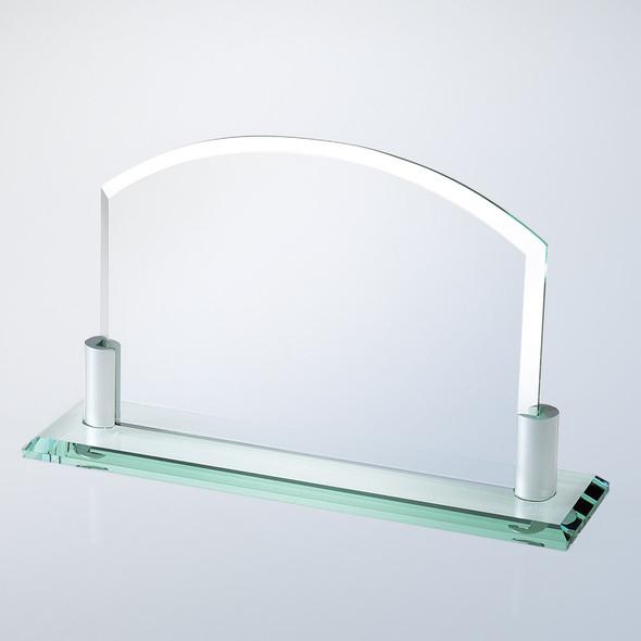 JADE GLASS HORIZONTAL ARCH W/ ALUMINUM HOLDER BASE, 2 sizes available