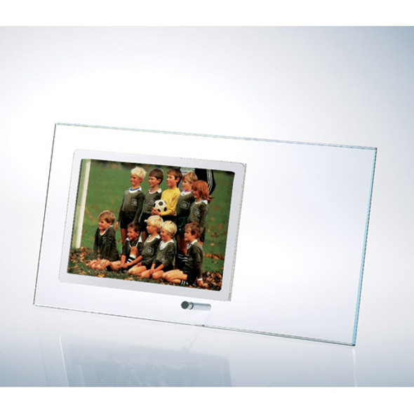 Starfire Clear Glass Horizontal Stainless Photo Frame w/ Silver pole