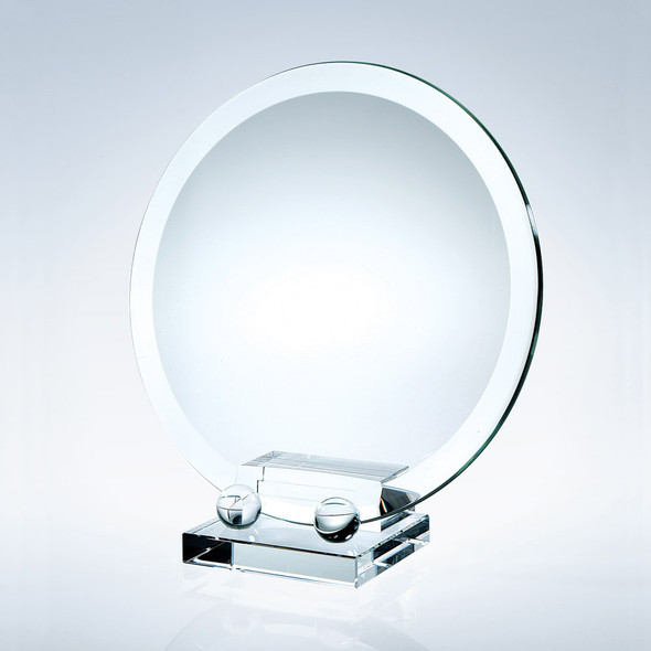 """JADE GLASS DELUXE BEVELED ROUND PLATE W/ CRYSTAL HOLDER BASE, 12 3/4"""", 2 sizes available"""
