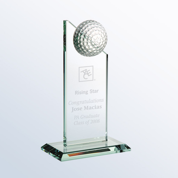 JADE GLASS GOLF PINNACLE TROPHY,  3 sizes available