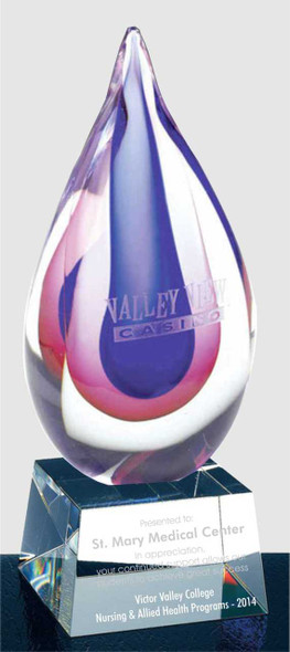 Citaly Art Glass Award with crystal base