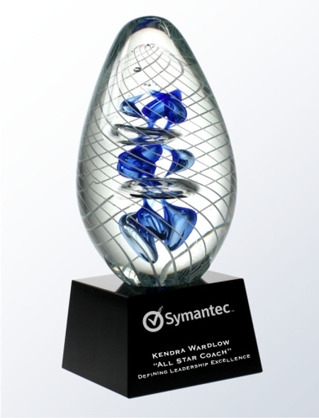 Glass Art Award with crystal base. Free etching.