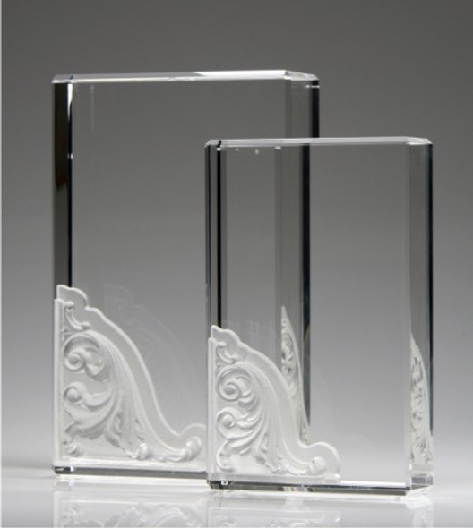 CORINTHIAN BLOCKS CRYSTAL AWARD.  *Wave decorated piece: Pate De Verre