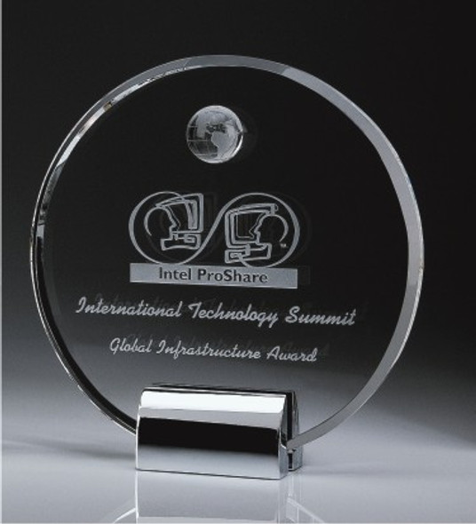 Clear Circle Plaque Crystal Award w/Globe