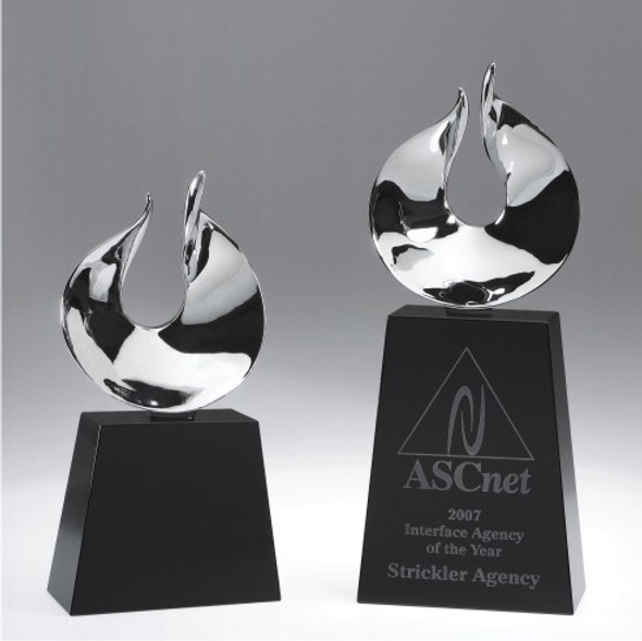 Oasis Crystal Award, engraved crystal base