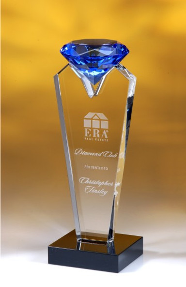 Blue Rising Diamond Crystal Award