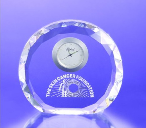Faceted Round Crystal Clock