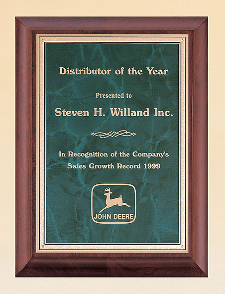Cherry Finish Recognition Award Plaque with Emerald Marble Plate, Laser engraved
